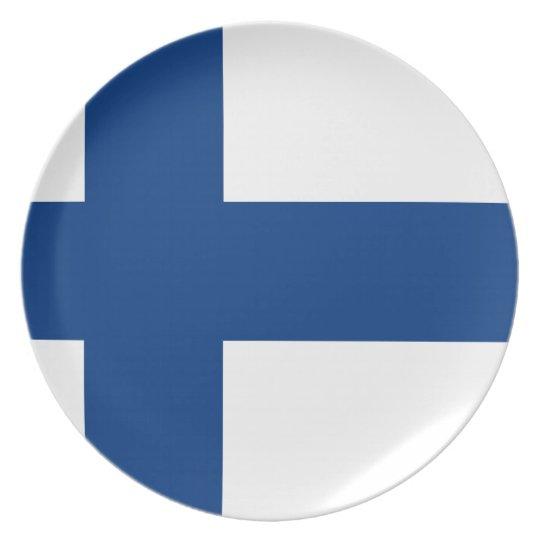 Flag of Finland (Suomen lippu, Finlands flagga) Dinner Plate