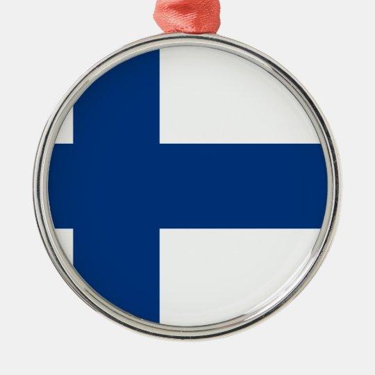 Flag of Finland (Suomen lippu, Finlands flagga) Silver-Colored Round Decoration