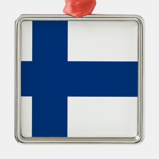 Flag of Finland (Suomen lippu, Finlands flagga) Silver-Colored Square Decoration