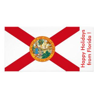 Flag of Florida, Happy Holidays from U.S.A. Custom Photo Card