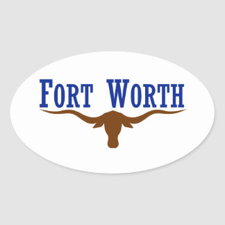 Flag of Fort Worth Texas Oval Sticker