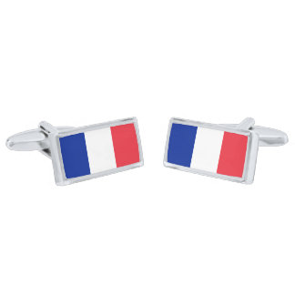 Flag of France Cufflinks Silver Finish Cuff Links