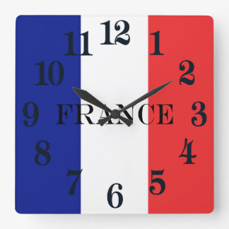 Flag of France French Tricolore Square Wall Clock