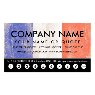 flag of france punch card business card
