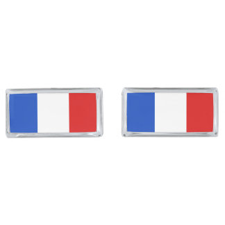 Flag of France Silver Finish Cuff Links