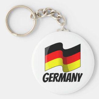 Flag of Germany, Labeled Basic Round Button Key Ring