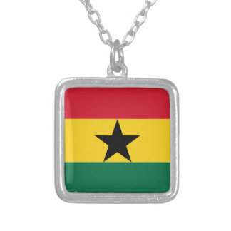 Flag of Ghana Silver Plated Necklace