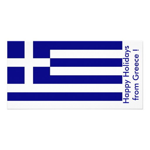 Flag of Greece, Happy Holidays from Greece Photo Greeting Card