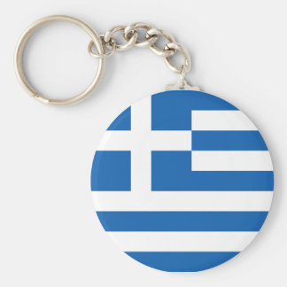 Flag of Greece Basic Round Button Key Ring