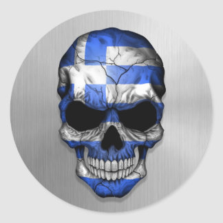 Flag of Greece on a Steel Skull Graphic Stickers
