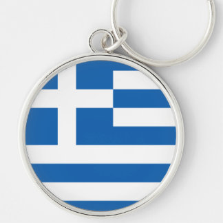 Flag of Greece Silver-Colored Round Key Ring