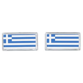 Flag of Greece Silver Finish Cufflinks