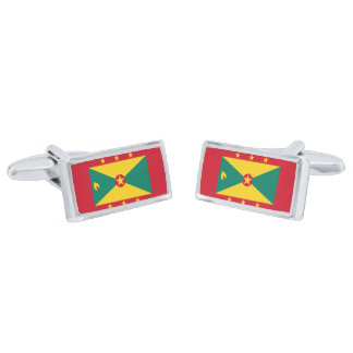 Flag of Grenada Cufflinks Silver Finish Cufflinks