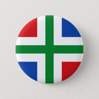 Flag of Groningen (province) 6 Cm Round Badge