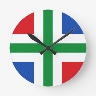 Flag of Groningen (province) Round Clock