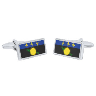 Flag of Guadeloupe Cufflinks Silver Finish Cuff Links