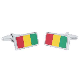 Flag of Guinea Cufflinks Silver Finish Cufflinks