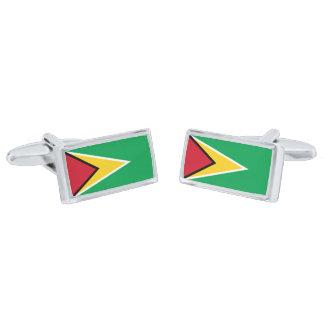 Flag of Guyana Cufflinks Silver Finish Cuff Links