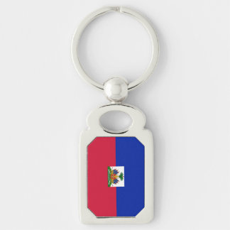 Flag of Haiti Silver-Colored Rectangle Key Ring
