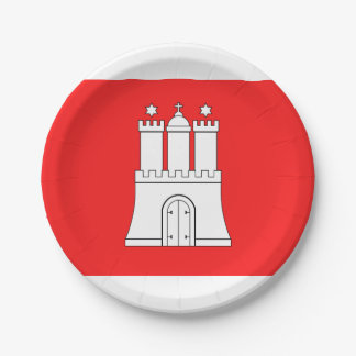 Flag of Hamburg Paper Plate