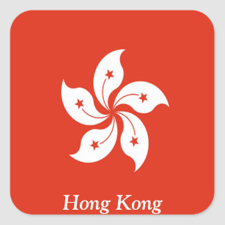 Flag of Hong Kong Square Sticker