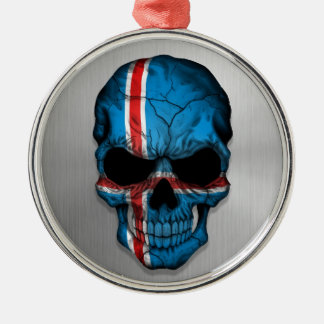 Flag of Iceland on a Steel Skull Graphic Christmas Ornament