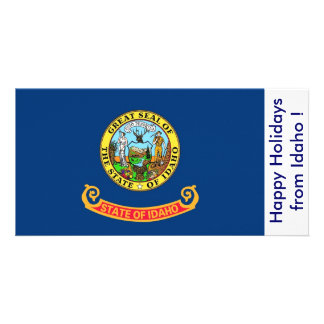Flag of Idaho, Happy Holidays from U.S.A. Customised Photo Card