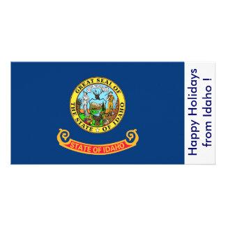 Flag of Idaho, Happy Holidays from U.S.A. Customized Photo Card