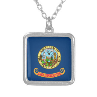 Flag Of Idaho Silver Plated Necklace