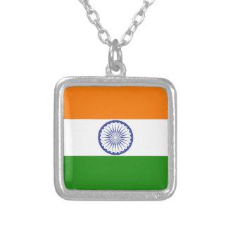 Flag of India Ashoka Chakra Silver Plated Necklace