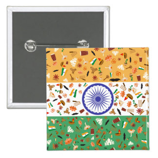 Flag of India with cultural items 15 Cm Square Badge