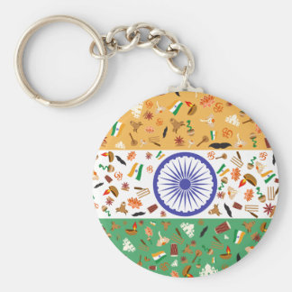 Flag of India with cultural items Basic Round Button Key Ring
