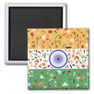 Flag of India with cultural items Square Magnet