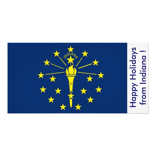 Flag of Indiana, Happy Holidays from U.S.A. Picture Card