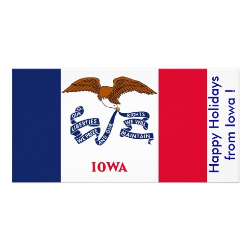 Flag of Iowa, Happy Holidays from U.S.A. Photo Cards