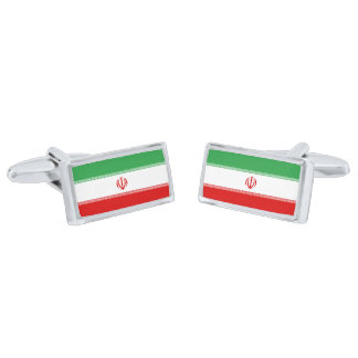 Flag of Iran Cufflinks Silver Finish Cufflinks