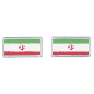 Flag of Iran Silver Finish Cuff Links