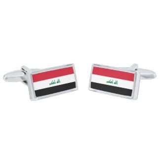 Flag of Iraq Cufflinks Silver Finish Cuff Links