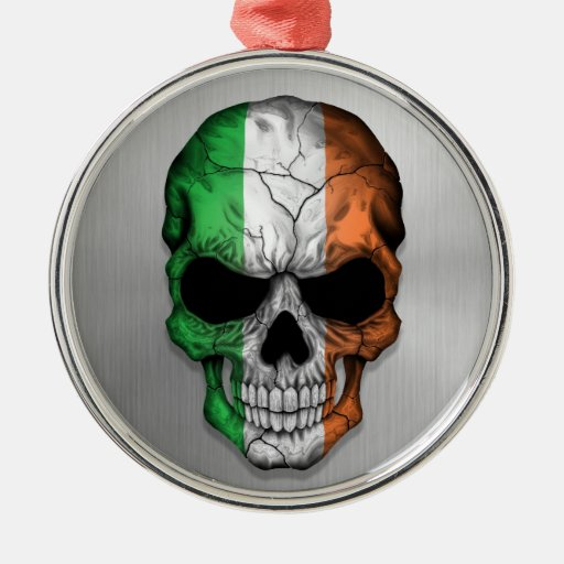 Flag of Ireland on a Steel Skull Graphic Christmas Tree Ornaments