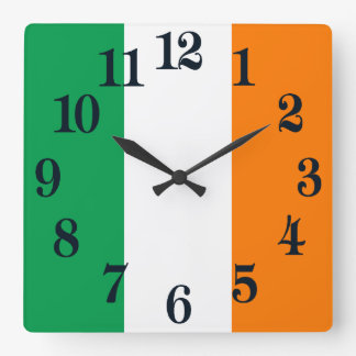 Flag of Ireland Shamrock Square Wall Clock