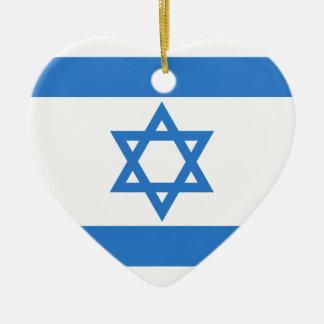 Flag of Israel Ceramic Heart Decoration