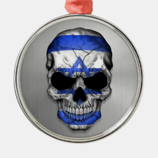Flag of Israel on a Steel Skull Graphic Silver-Colored Round Decoration