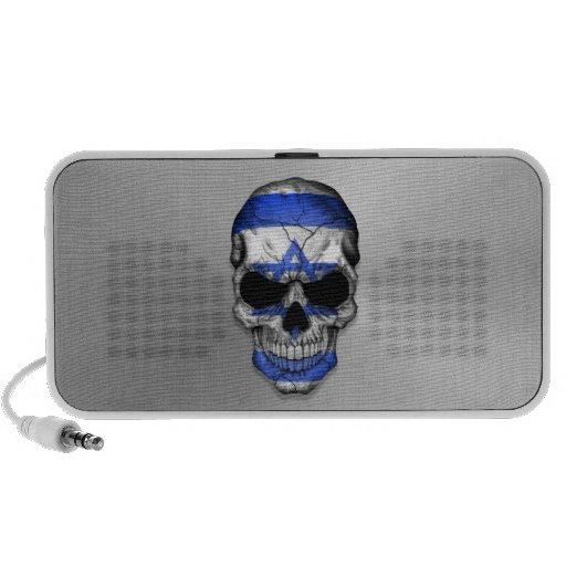 Flag of Israel on a Steel Skull Graphic Mini Speaker
