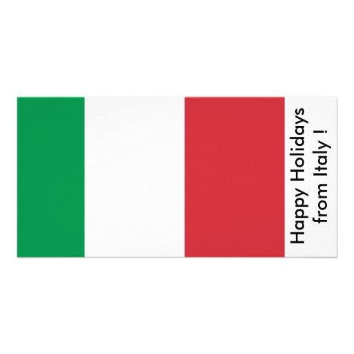 Flag of Italy, Happy Holidays from Italy Photo Greeting Card