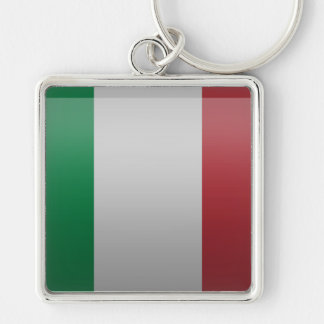 Flag of Italy Silver-Colored Square Key Ring