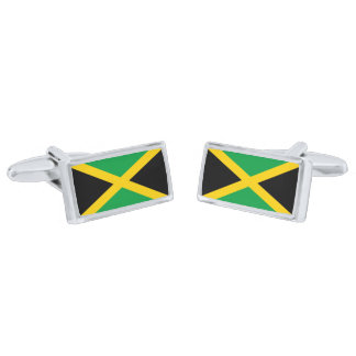 Flag of Jamaica Cufflinks Silver Finish Cuff Links