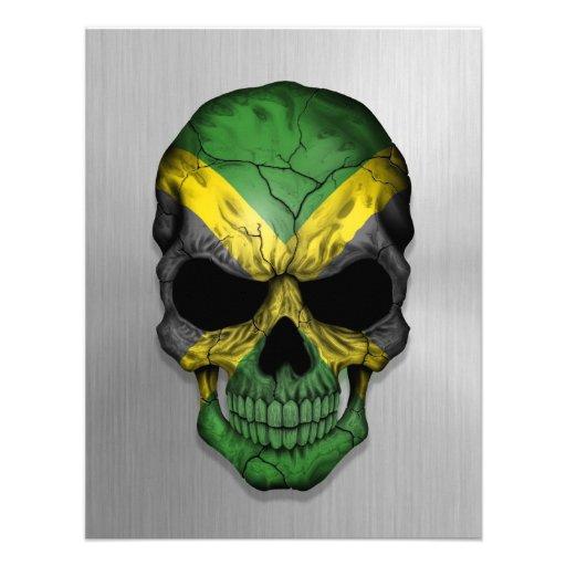 Flag of Jamaica on a Steel Skull Graphic Custom Invite