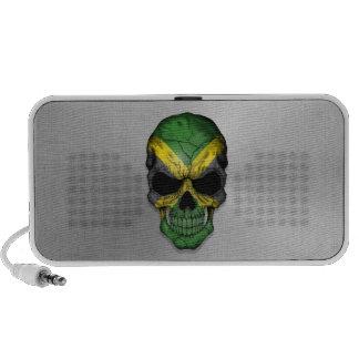 Flag of Jamaica on a Steel Skull Graphic Mini Speaker