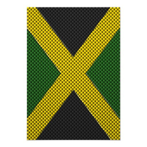 Flag of Jamaica with Carbon Fiber Effect Custom Invitation
