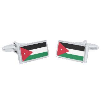 Flag of Jordan Cufflinks Silver Finish Cufflinks
